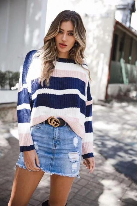 Women Knitted Sweater Autumn Winter Long Sleeve Casual Loose Striped Patchwork Pullover Tops pink