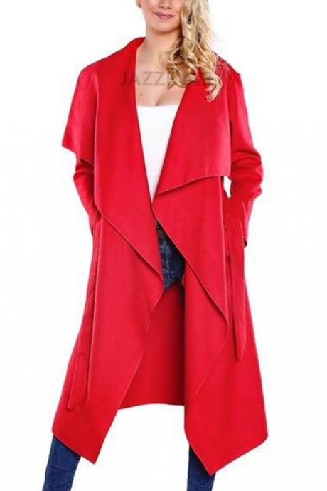 Women Wool Blend Trench Coat Autumn Winter Lapel Casual Long Sleeve Loose Cardigan Jacket Outerwear red