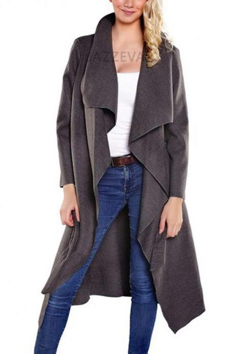 Women Wool Blend Trench Coat Autumn Winter Lapel Casual Long Sleeve Loose Cardigan Jacket Outerwear gray