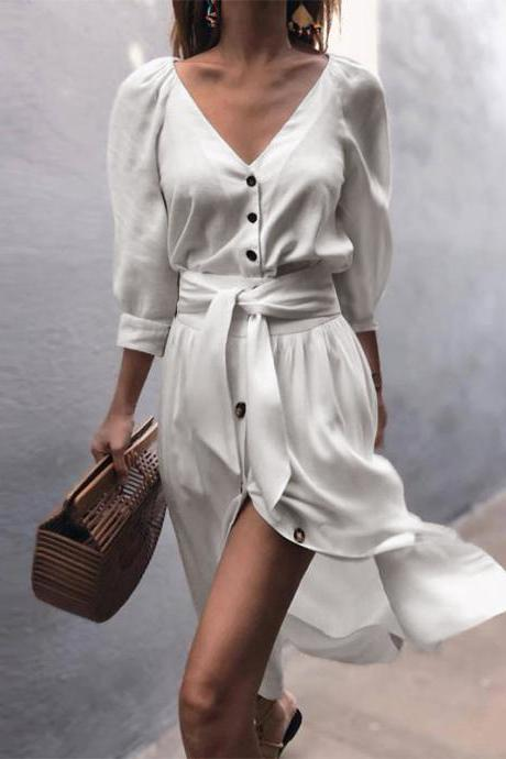 Women Casual Shirt Dress Autumn V Neck Half Sleeve Button Bow Tie Belted Front Splited Midi Dress off white