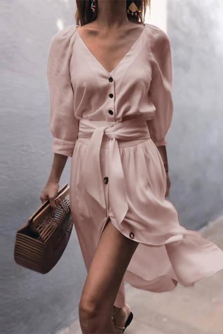 Women Casual Shirt Dress Autumn V Neck Half Sleeve Button Bow Tie Belted Front Splited Midi Dress pink