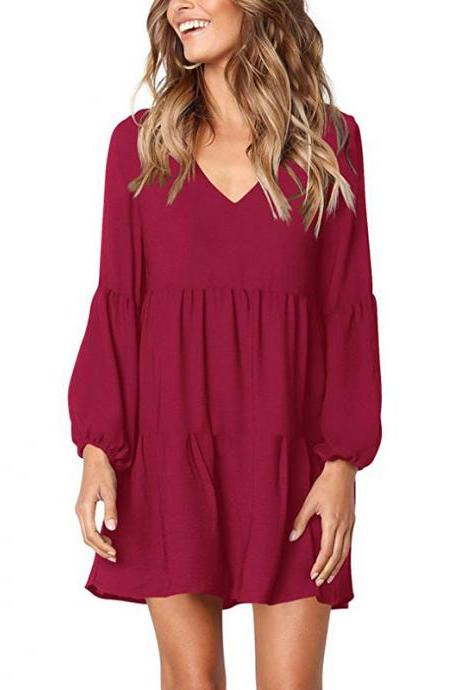 Women Casual Dress Autumn V Neck Long Lantern Sleeve Loose Streetwear Mini Club Party Dress red