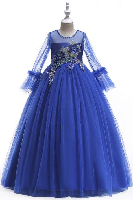 Long Sleeve Flower Girl Dress Princess Teens Formal Birthdat Party Tutu Gown Children Clothes royal blue