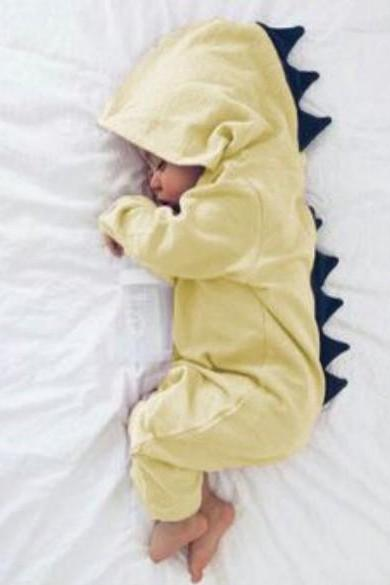 Newborn Infant Baby Boy Girl Dinosaur Hooded Romper Jumpsuit Long Sleeve Autumn Kids Outfits Clothes yellow