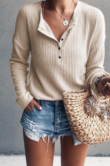 Women Pullover Tops Autumn Winter V-Neck Button Long Sleeve Casual Slim Knitted Sweater apricot