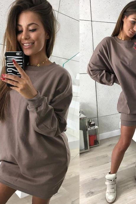 Women Sweatshirt Dress O-Neck Casual Loose Oversized Autumn Long Sleeve Hoodie Pullover Mini Dress brown