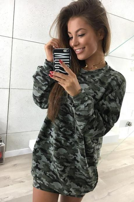 Women Sweatshirt Dress O-Neck Casual Loose Oversized Autumn Long Sleeve Hoodie Pullover Mini Dress Camouflage