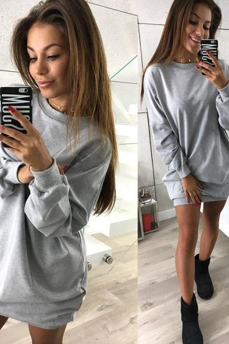 Women Sweatshirt Dress O-Neck Casual Loose Oversized Autumn Long Sleeve Hoodie Pullover Mini Dress gray