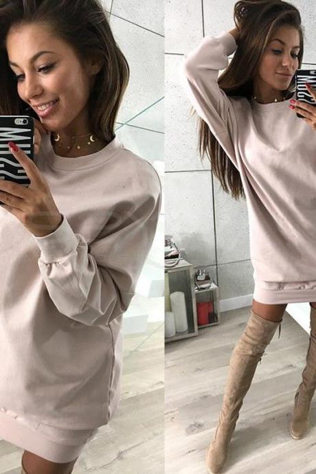 Women Sweatshirt Dress O-Neck Casual Loose Oversized Autumn Long Sleeve Hoodie Pullover Mini Dress pink