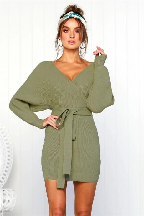 Women Knitted Sweater Dress Autumn V Neck Long Sleeve Belted Casual Slim Mini Club Party Dress army green