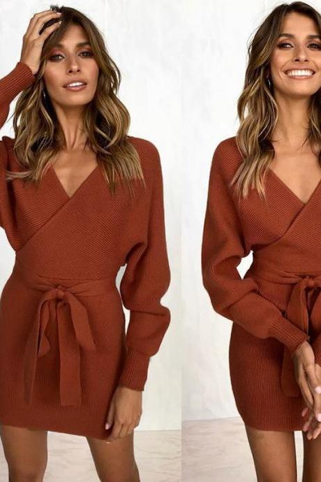 Women Knitted Sweater Dress Autumn V Neck Long Sleeve Belted Casual Slim Mini Club Party Dress caramel