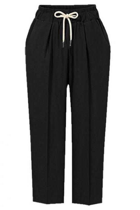 Women Harem Pants Autumn Drawstring High Waist Ankle Length Plus Size Casual Loose Trousers black