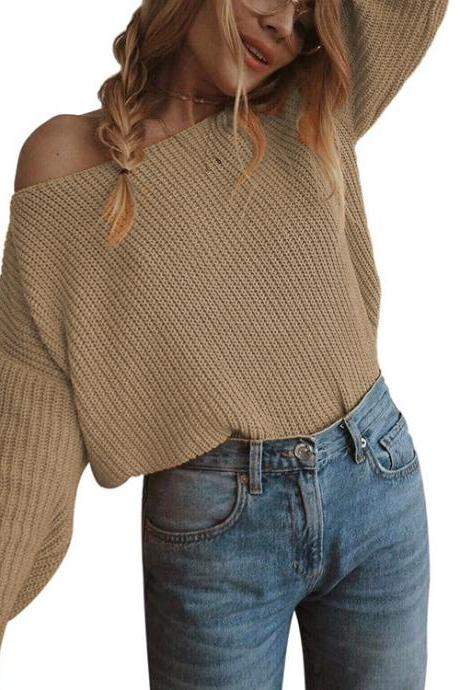 Women Knitted Sweater Autumn Slash Neck Off the Shoulder Long Sleeve Casual Loose Pullover Tops khaki