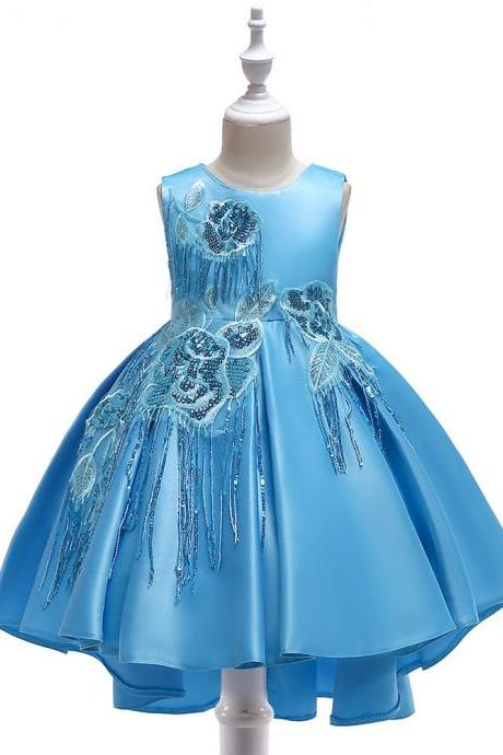 High Low Satin Flower Girl Dress Sequin Trailing Holy Communion Birthday Party Dress Children Clothes sky blue