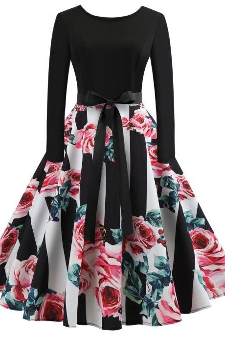 Vintage Floral Printed Dress Autumn Long Sleeve Belted Rockabilly Casual Slim A-Line Formal Party Dress 3#