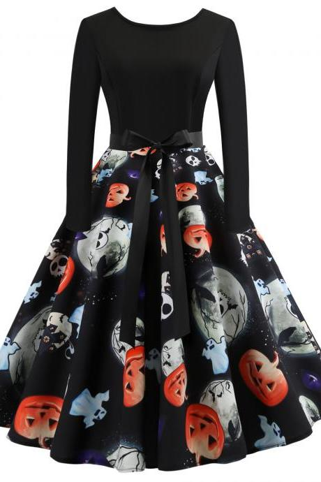 Vintage Floral Printed Dress Autumn Long Sleeve Belted Rockabilly Casual Slim A-Line Formal Party Dress 5#