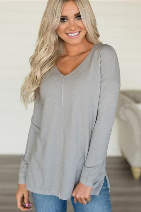 Women Knitted Sweater Solid V Neck Long Sleeve Autumn Casual Loose Pullover Tops gray