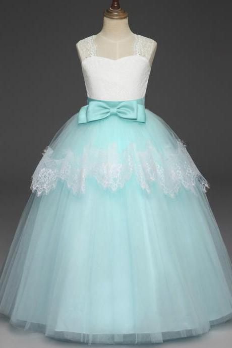 Long Lace Flower Girl Dress Sleeveless Princess Teens Wedding Formal Party Ball Gown Children Clothes aqua