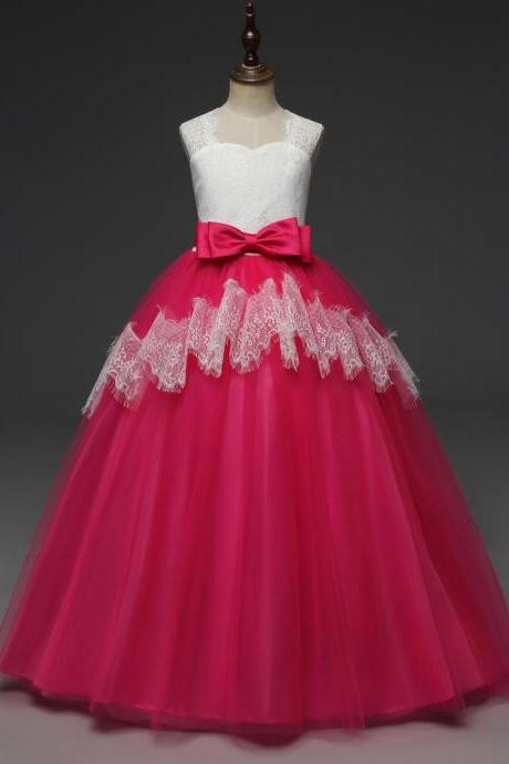 Long Lace Flower Girl Dress Sleeveless Princess Teens Wedding Formal Party Ball Gown Children Clothes hot pink