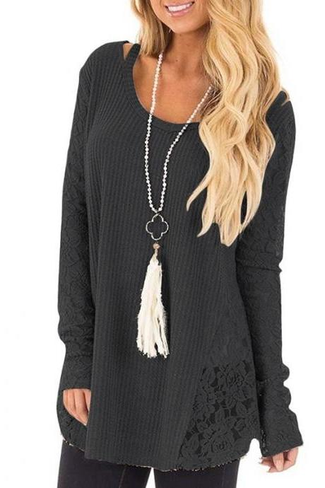 Women Lace Patchwork Sweater Autumn Casual Long Sleeve Plus Size Loose Pullover Tops black