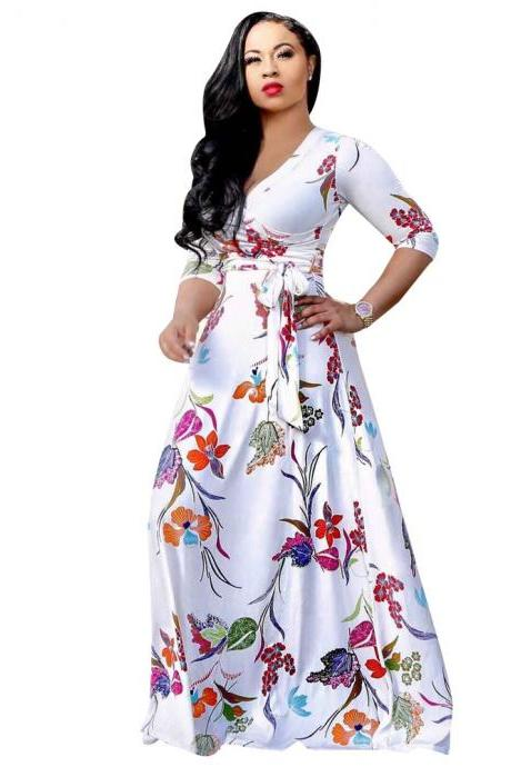 Women Floral Printed Maxi Dress V Neck Boho 3/4 Sleeve Belted Casual Beach Long Party Dress1#
