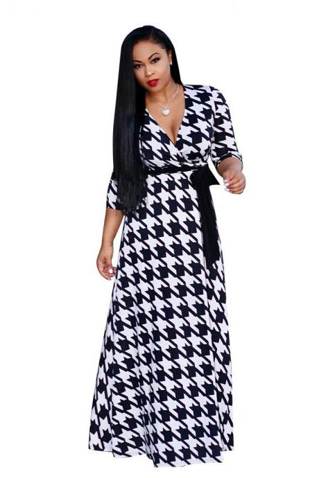 Women Floral Printed Maxi Dress V Neck Boho 3/4 Sleeve Belted Casual Beach Long Party Dress6#