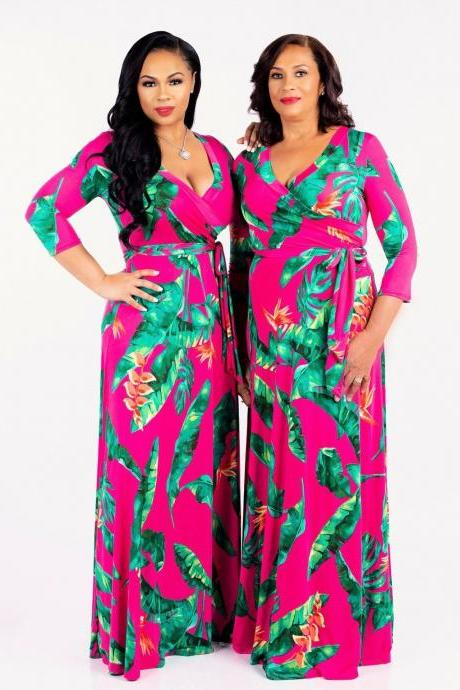 Women Floral Printed Maxi Dress V Neck Boho 3/4 Sleeve Belted Casual Beach Long Party Dress8#