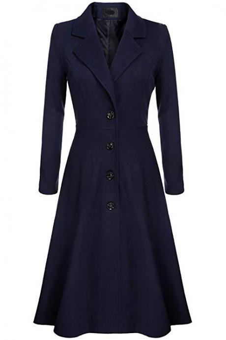 Women Trench Coat Autumn Winter Single Breasted Turn-down Collar Warm Slim Long Sleeve Jacket Outwear Windbreaker navy blue