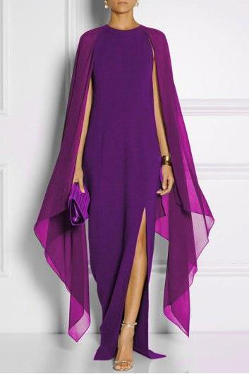 Women Chiffon Maxi Dress Batwing Sleeve Side Split Casual Slim Long Evening Party Gown purple