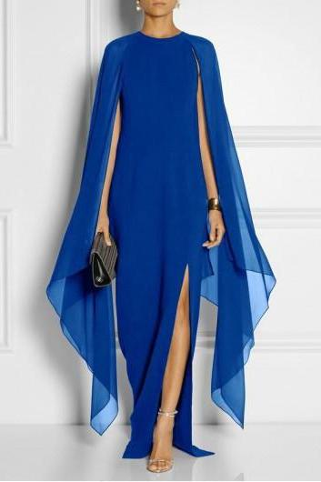 Women Chiffon Maxi Dress Batwing Sleeve Side Split Casual Slim Long Evening Party Gown royal blue