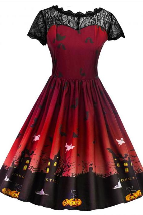 Women Printed A Line Dress Vintage Lace Short Sleeve Swing Evening Party Halloween Costume red
