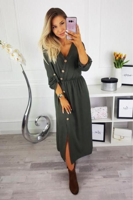 Women Maxi Dress Sexy V Neck Long Sleeve Side Split Button Casual Loose Beach Long Dress army green