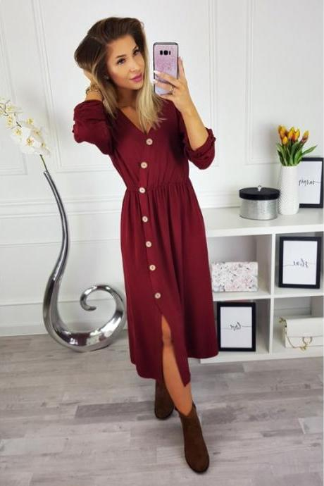 Women Maxi Dress Sexy V Neck Long Sleeve Side Split Button Casual Loose Beach Long Dress crimson