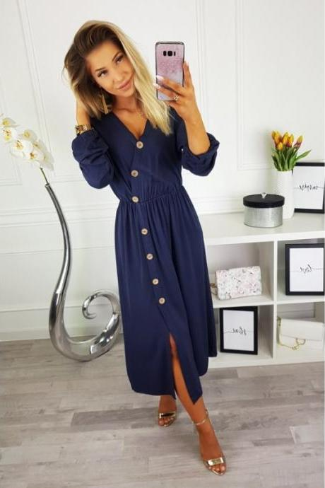 Women Maxi Dress Sexy V Neck Long Sleeve Side Split Button Casual Loose Beach Long Dress navy blue