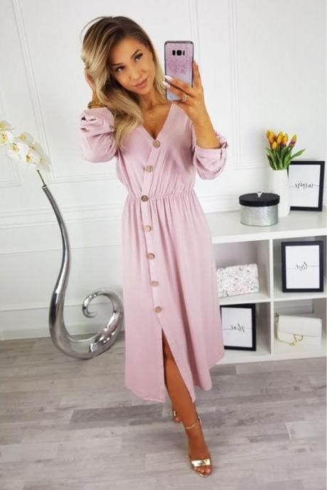 Women Maxi Dress Sexy V Neck Long Sleeve Side Split Button Casual Loose Beach Long Dress pink