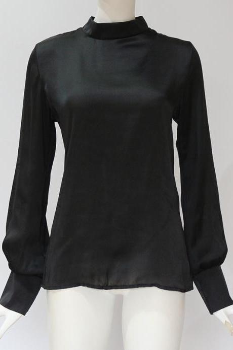 Women Blouse Autumn Turtleneck Lantern Long Sleeve Solid Casual Loose Office Tops Shirt black