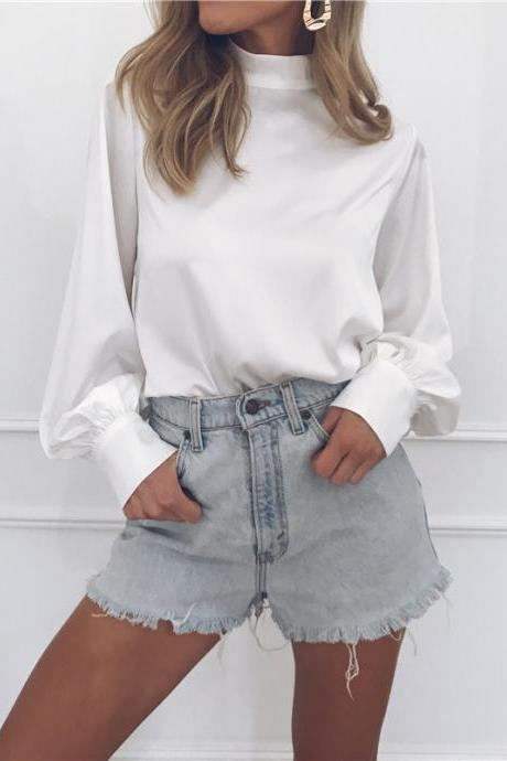Women Blouse Autumn Turtleneck Lantern Long Sleeve Solid Casual Loose Office Tops Shirt off white