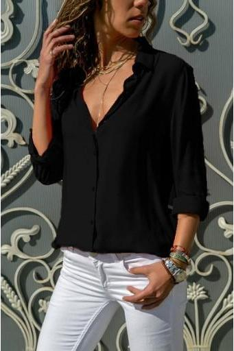 Women Blouse Autumn Long Sleeve Solid V-Neck Button Casual Loose Work Office Tops Shirt black