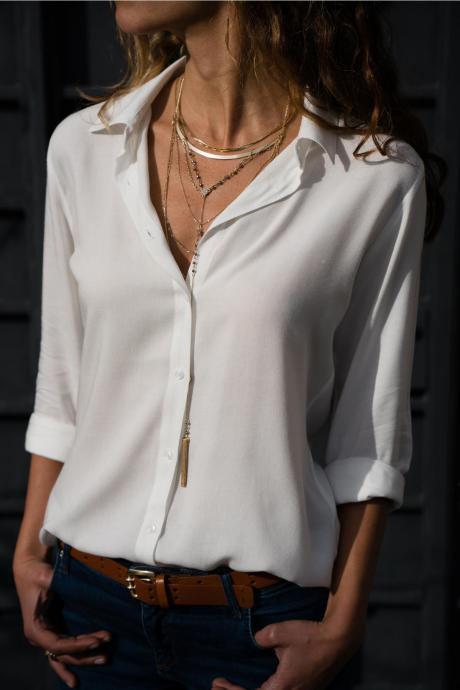 Women Blouse Autumn Long Sleeve Solid V-Neck Button Casual Loose Work Office Tops Shirt off white