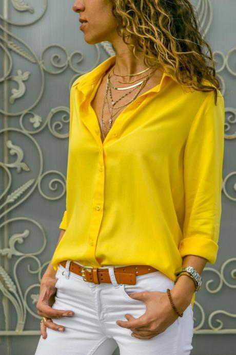 Women Blouse Autumn Long Sleeve Solid V-Neck Button Casual Loose Work Office Tops Shirt yellow