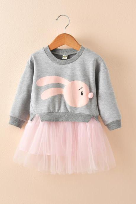 Baby Girl Dress Autumn Long Sleeve Cartoon Fake Two Pieces Patchwork Casual Children Kids Clothes gray
