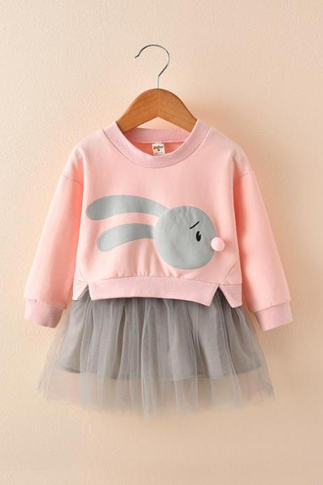 Baby Girl Dress Autumn Long Sleeve Cartoon Fake Two Pieces Patchwork Casual Children Kids Clothes