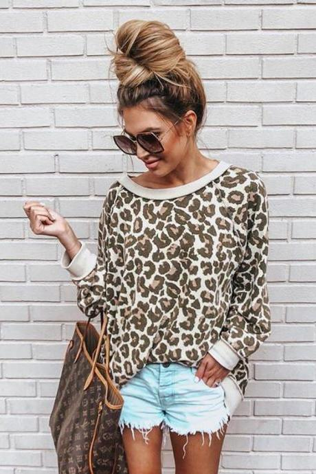Women Sweatshirt Autumn Long Sleeve O Neck Streetwear Casual Leopard Printed Pullover Tops camel
