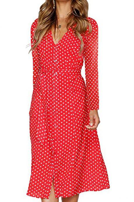 Women Polka Dot Shirt Dress Autumn V Neck Long Sleeve Belted Casual Midi Club Party Dress red