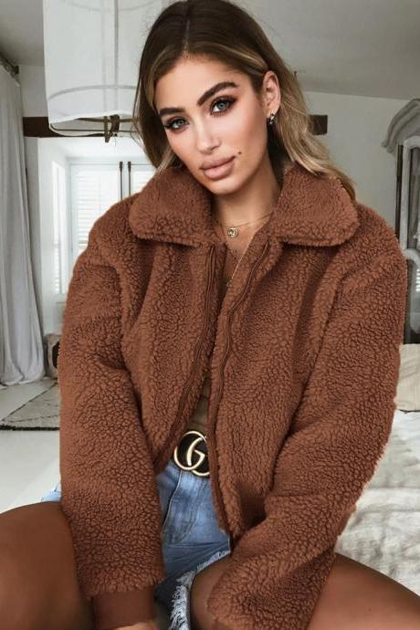 Women Fleece Coat Autumn Winter Turn Down Collar Long Sleeve Zipper Pocket Casual Thick Warm Short Jacket Outerwear coffee