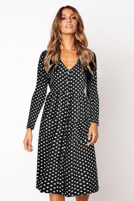 Women Polka Dot Shirt Dress V Neck Long Sleeve Button Casual A Line Midi Beach Party Dress black