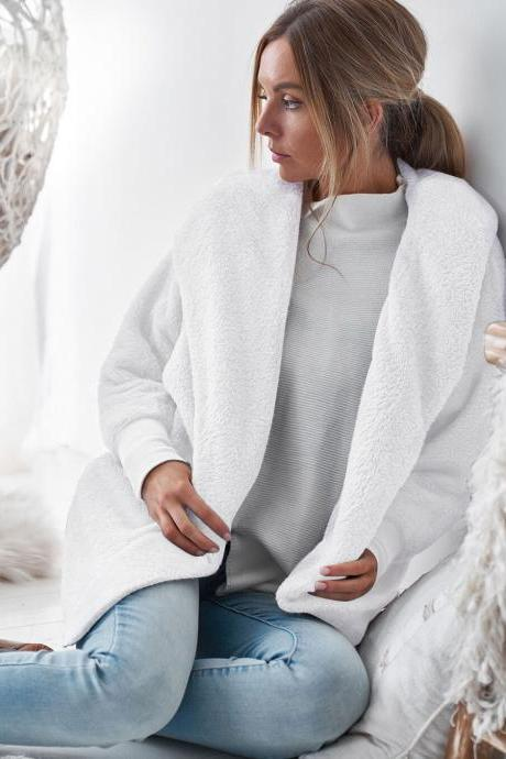 Women Plush Coat Autumn Winter Long Sleeve Hooded Casual Loose Open Stitch Cardigan Jacket Overcoat Outerwear off white