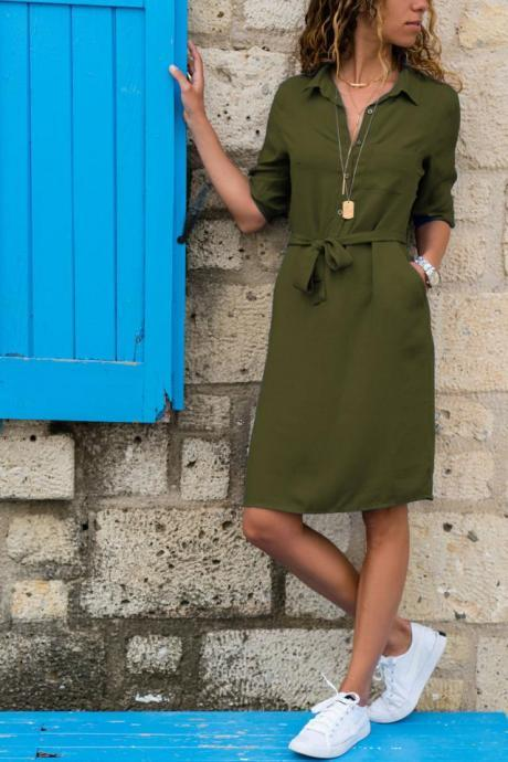 Women Shirt Dress Turn Down Collar 3/4 Sleeve Bow Belted Straight Casual Work Office Dress army green