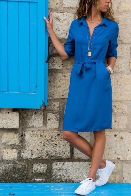 Women Shirt Dress Turn Down Collar 3/4 Sleeve Bow Belted Straight Casual Work Office Dress blue