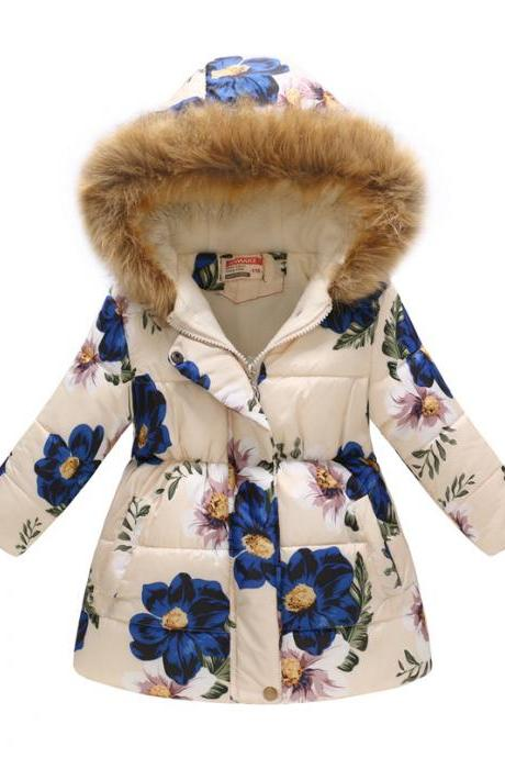 Kids Girls Cotton Down Coat Winter Floral Printed Long Sleeve Hooded Children Warm Thick Fleece Parka Jacket 7#